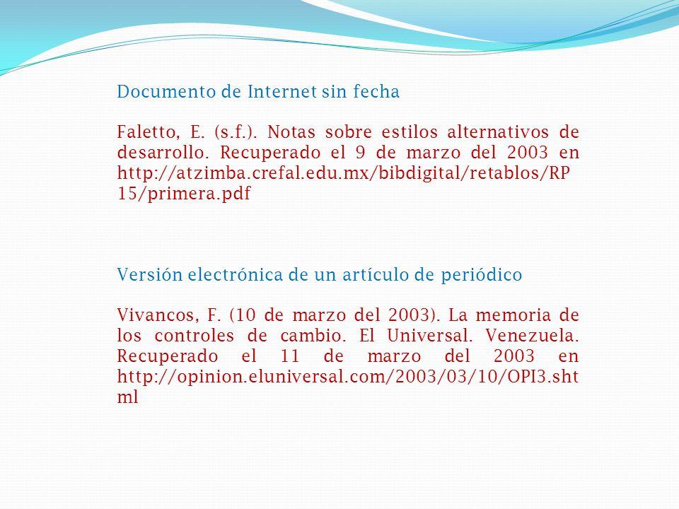 Documento de Internet sin fecha Faletto, E.(s.f.).