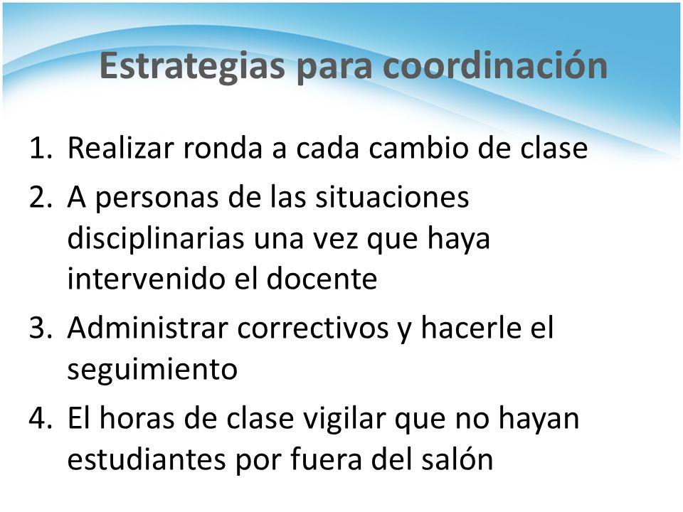 Estrategias para coordinación 1.Realizar ronda a cada cambio de clase 2.A personas de las situaciones disciplinarias una vez que haya intervenido el d