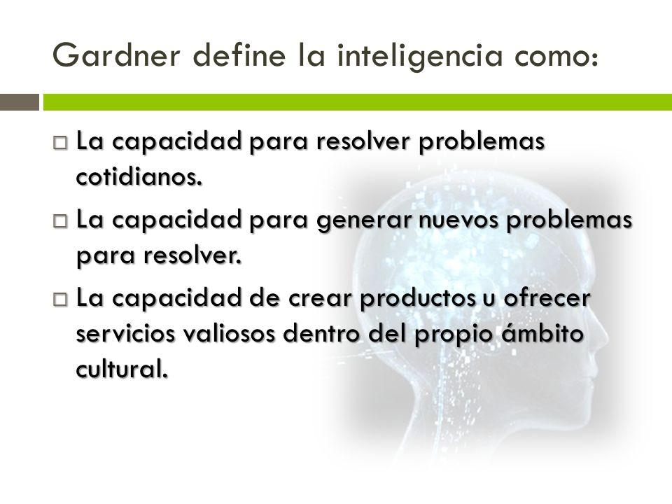Gardner define la inteligencia como: La capacidad para resolver problemas cotidianos. La capacidad para resolver problemas cotidianos. La capacidad pa