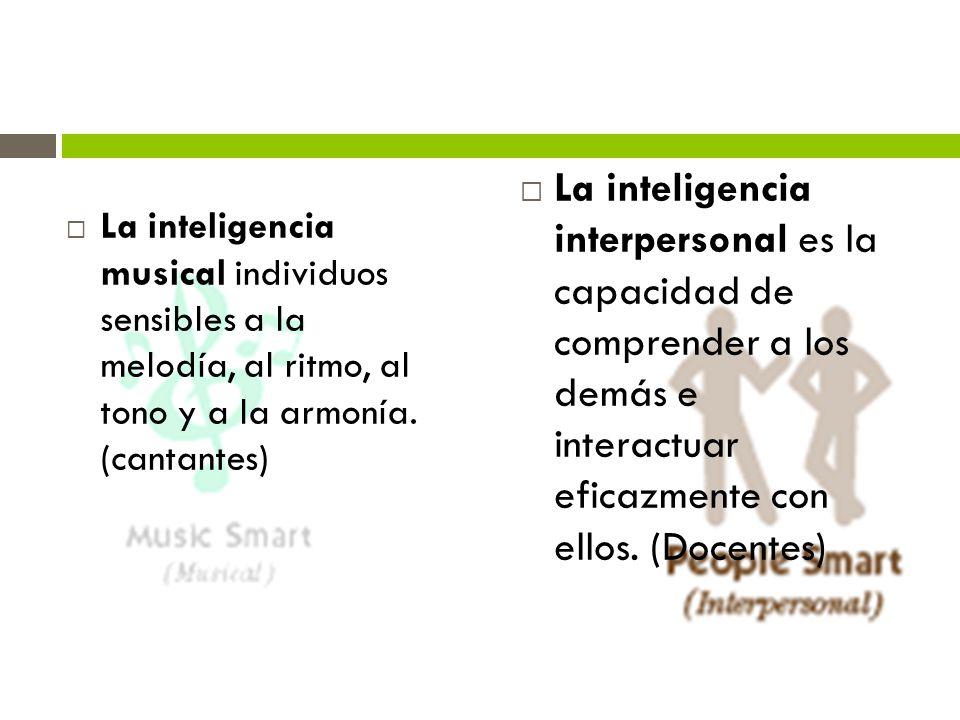La inteligencia musical individuos sensibles a la melodía, al ritmo, al tono y a la armonía. (cantantes) La inteligencia interpersonal es la capacidad