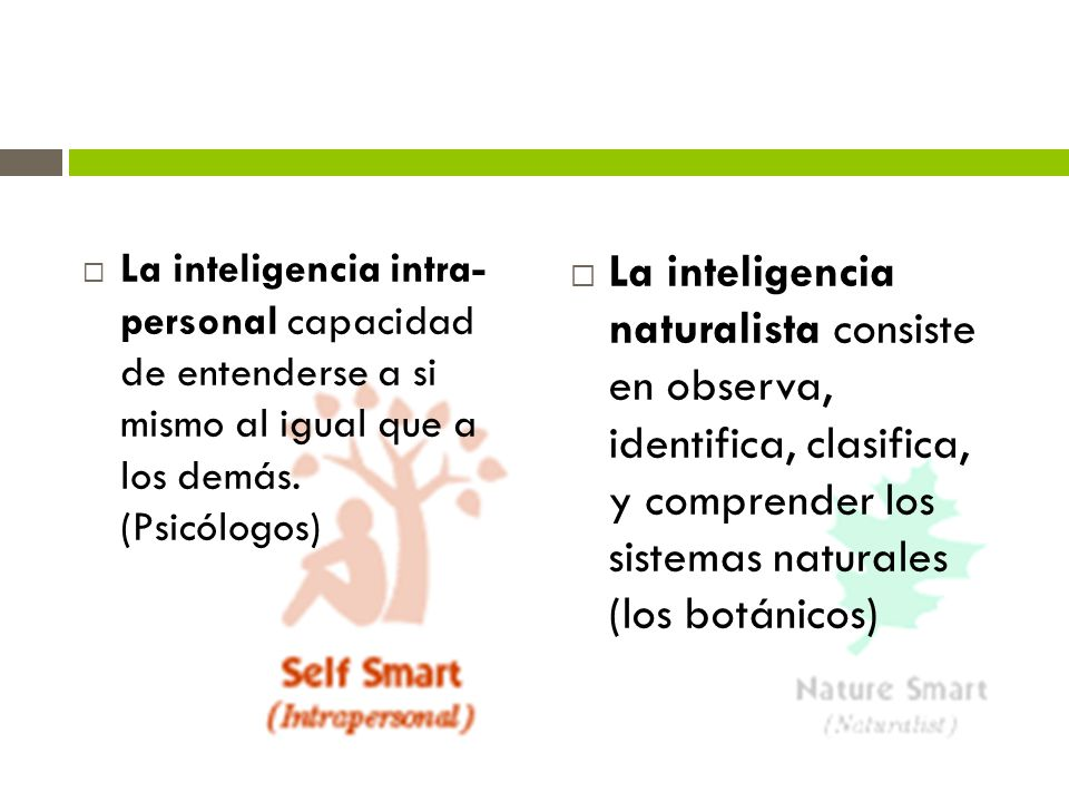 La inteligencia intra- personal capacidad de entenderse a si mismo al igual que a los demás. (Psicólogos) La inteligencia naturalista consiste en obse