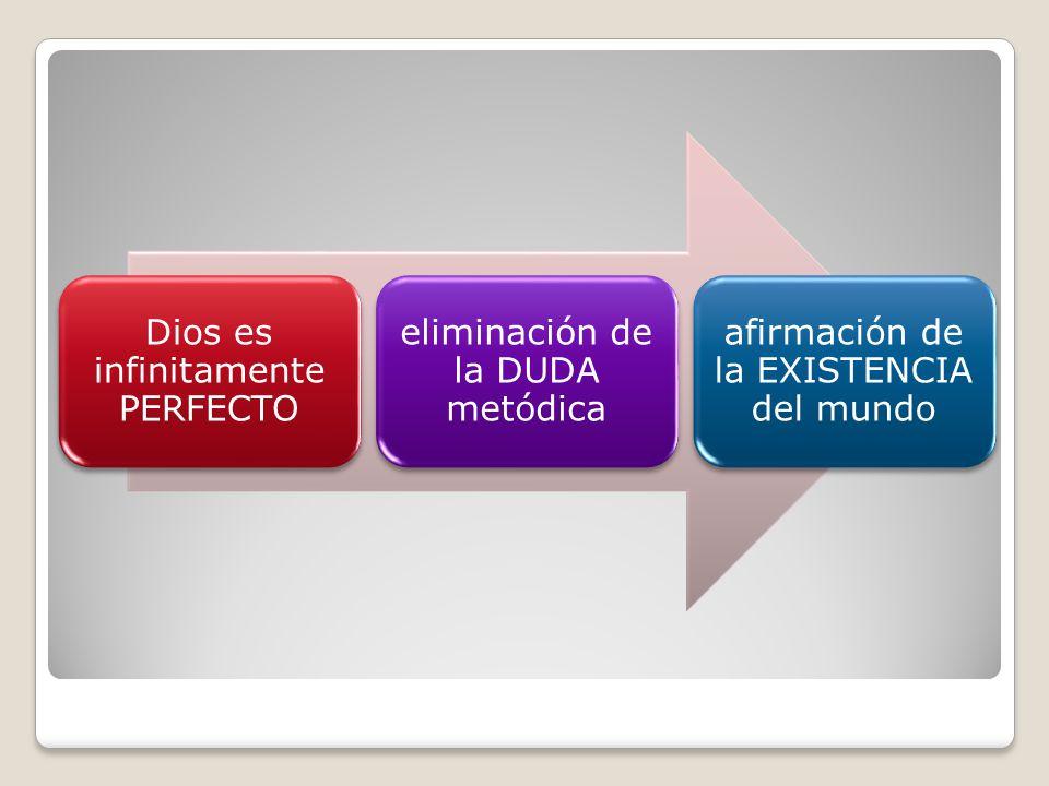 Dios es infinitamente PERFECTO eliminación de la DUDA metódica afirmación de la EXISTENCIA del mundo