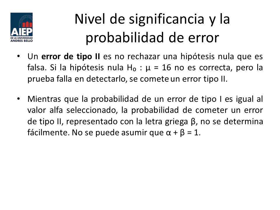 Nivel de significancia y la probabilidad de error Un error de tipo II es no rechazar una hipótesis nula que es falsa. Si la hipótesis nula H : μ = 16