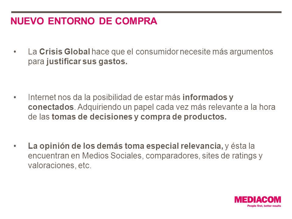 NUEVO ENTORNO DE COMPRA La Crisis Global hace que el consumidor necesite más argumentos para justificar sus gastos.