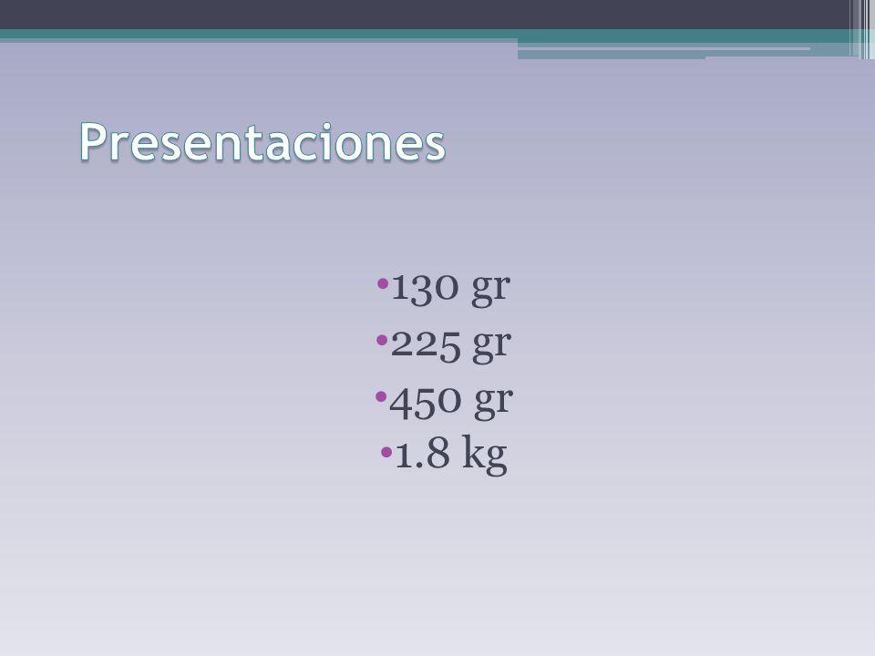 130 gr 225 gr 450 gr 1.8 kg