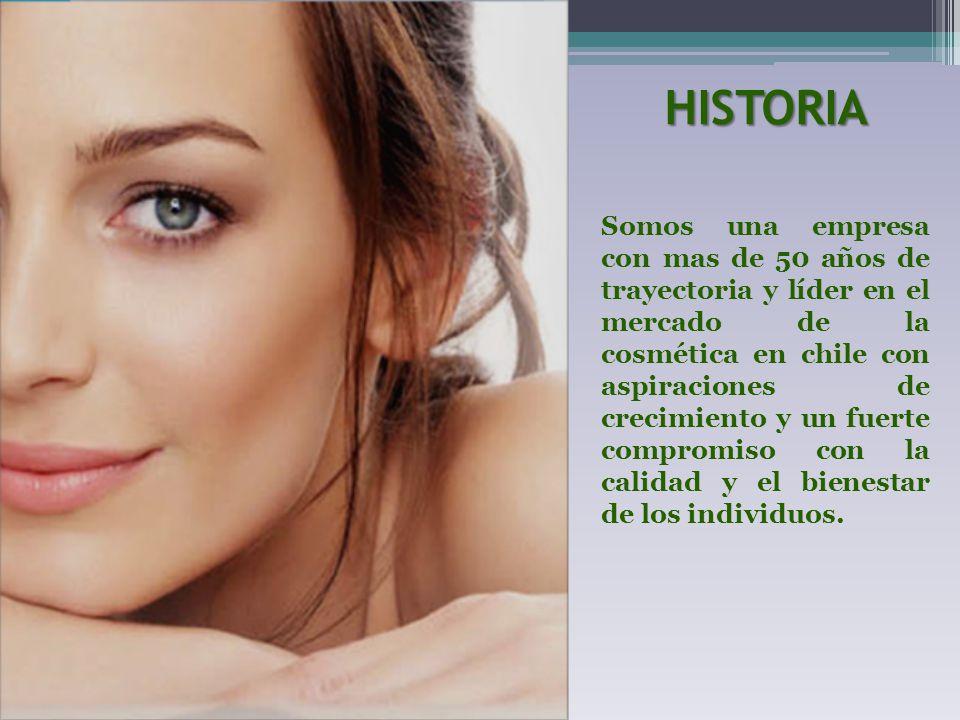 HISTORIA Somos una empresa con mas de 50 años de trayectoria y líder en el mercado de la cosmética en chile con aspiraciones de crecimiento y un fuert