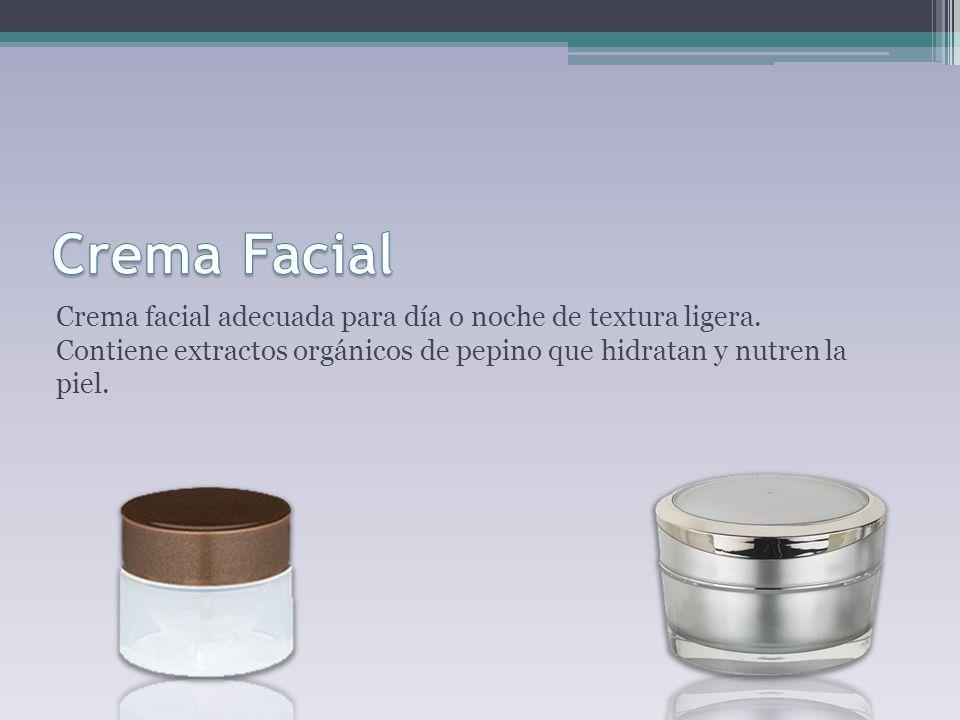 Crema facial adecuada para día o noche de textura ligera. Contiene extractos orgánicos de pepino que hidratan y nutren la piel.