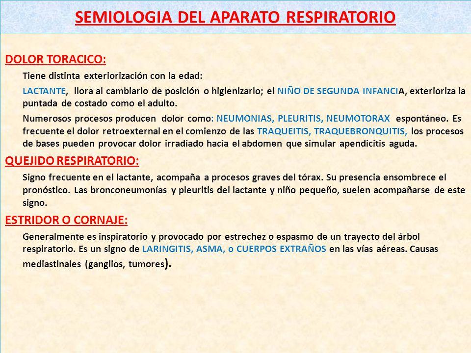 SEMIOLOGIA DEL APARATO RESPIRATORIO DOLOR TORACICO: Tiene distinta exteriorización con la edad: LACTANTE, llora al cambiarlo de posición o higienizarlo; el NIÑO DE SEGUNDA INFANCIA, exterioriza la puntada de costado como el adulto.