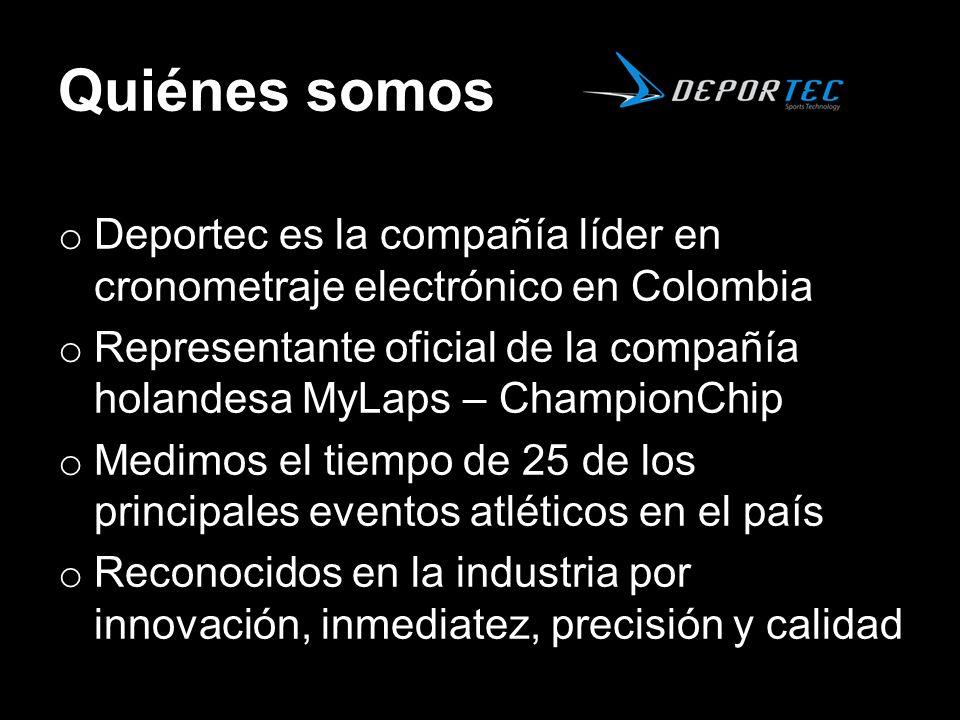 Quiénes somos o Deportec es la compañía líder en cronometraje electrónico en Colombia o Representante oficial de la compañía holandesa MyLaps – Champi