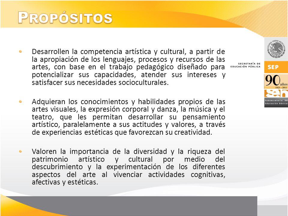 Desarrollen la competencia artística y cultural, a partir de la apropiación de los lenguajes, procesos y recursos de las artes, con base en el trabajo