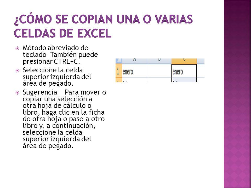 Al mover o copiar una celda, Excel mueve o copia toda la celda, incluidas las fórmulas y sus valores resultantes, así como los formatos de celdas y los comentarios.