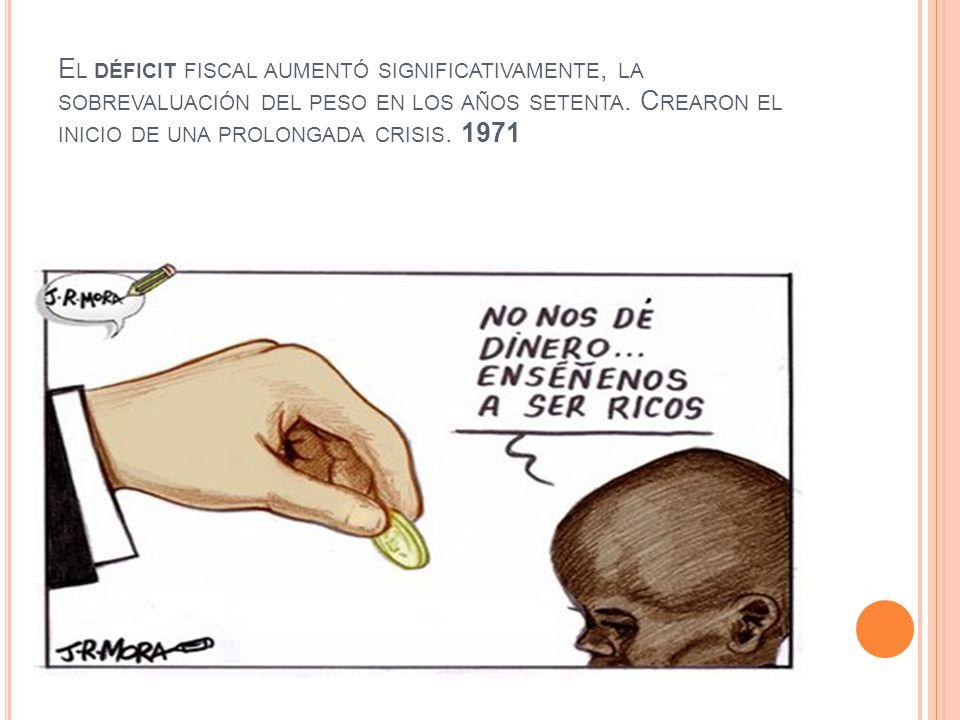 E L DÉFICIT FISCAL AUMENTÓ SIGNIFICATIVAMENTE, LA SOBREVALUACIÓN DEL PESO EN LOS AÑOS SETENTA. C REARON EL INICIO DE UNA PROLONGADA CRISIS. 1971