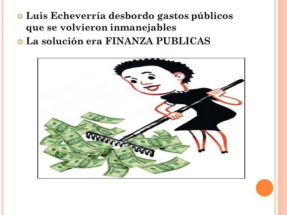 Luis Echeverría desbordo gastos públicos que se volvieron inmanejables La solución era FINANZA PUBLICAS