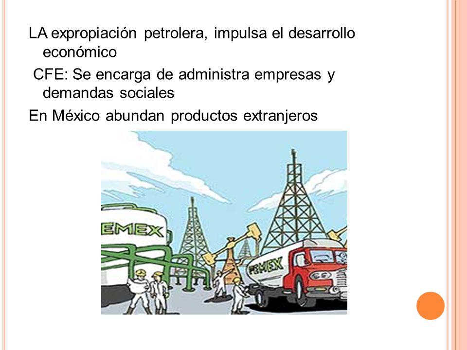 LA expropiación petrolera, impulsa el desarrollo económico CFE: Se encarga de administra empresas y demandas sociales En México abundan productos extr