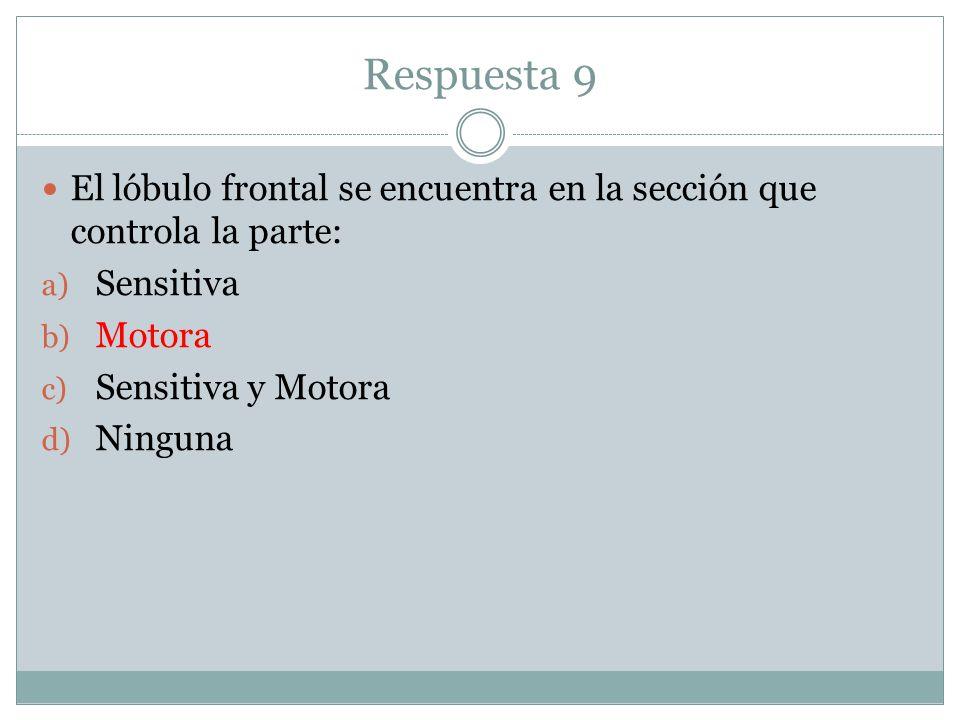 Respuesta 9 El lóbulo frontal se encuentra en la sección que controla la parte: a) Sensitiva b) Motora c) Sensitiva y Motora d) Ninguna