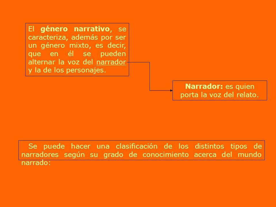 El género narrativo, se caracteriza, además por ser un género mixto, es decir, que en él se pueden alternar la voz del narrador y la de los personajes