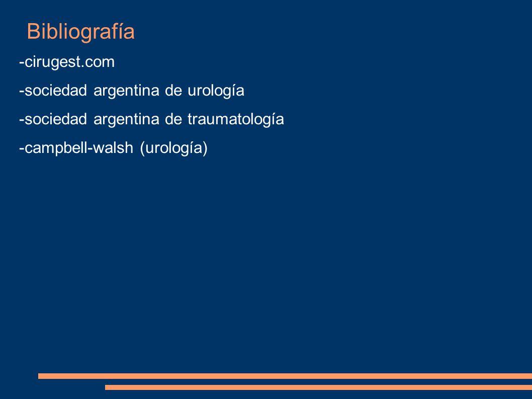 Bibliografía -cirugest.com -sociedad argentina de urología -sociedad argentina de traumatología -campbell-walsh (urología)