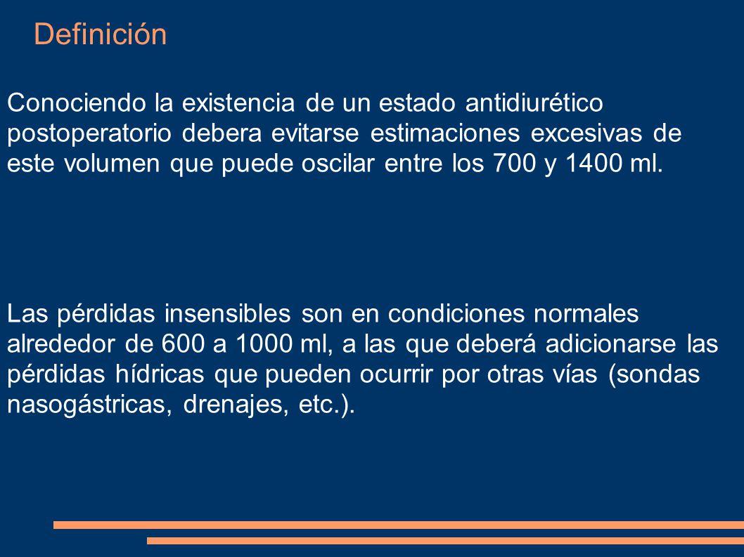 Definición Conociendo la existencia de un estado antidiurético postoperatorio debera evitarse estimaciones excesivas de este volumen que puede oscilar