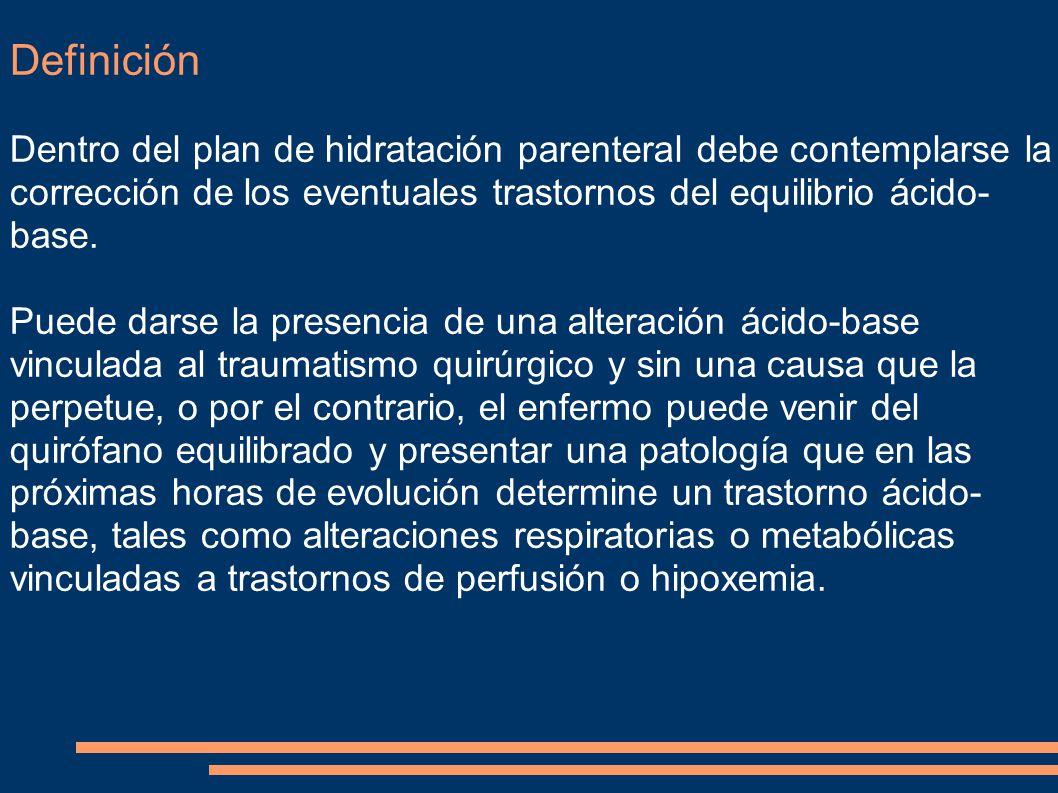 Definición Dentro del plan de hidratación parenteral debe contemplarse la corrección de los eventuales trastornos del equilibrio ácido- base. Puede da
