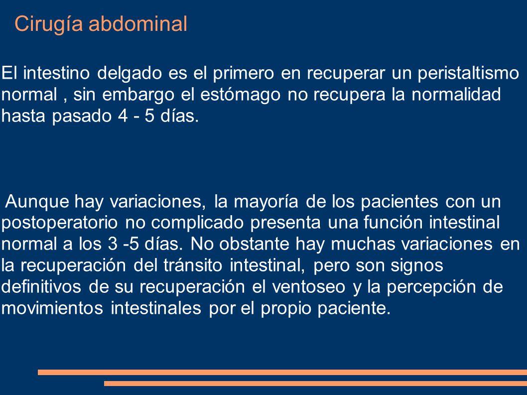 Cirugía abdominal El intestino delgado es el primero en recuperar un peristaltismo normal, sin embargo el estómago no recupera la normalidad hasta pas