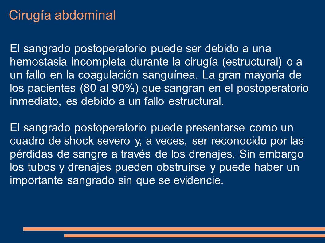 Cirugía abdominal El sangrado postoperatorio puede ser debido a una hemostasia incompleta durante la cirugía (estructural) o a un fallo en la coagulac
