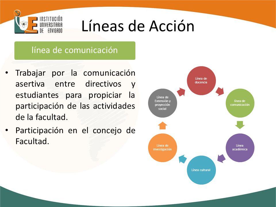 Líneas de Acción Trabajar por la comunicación asertiva entre directivos y estudiantes para propiciar la participación de las actividades de la facultad.