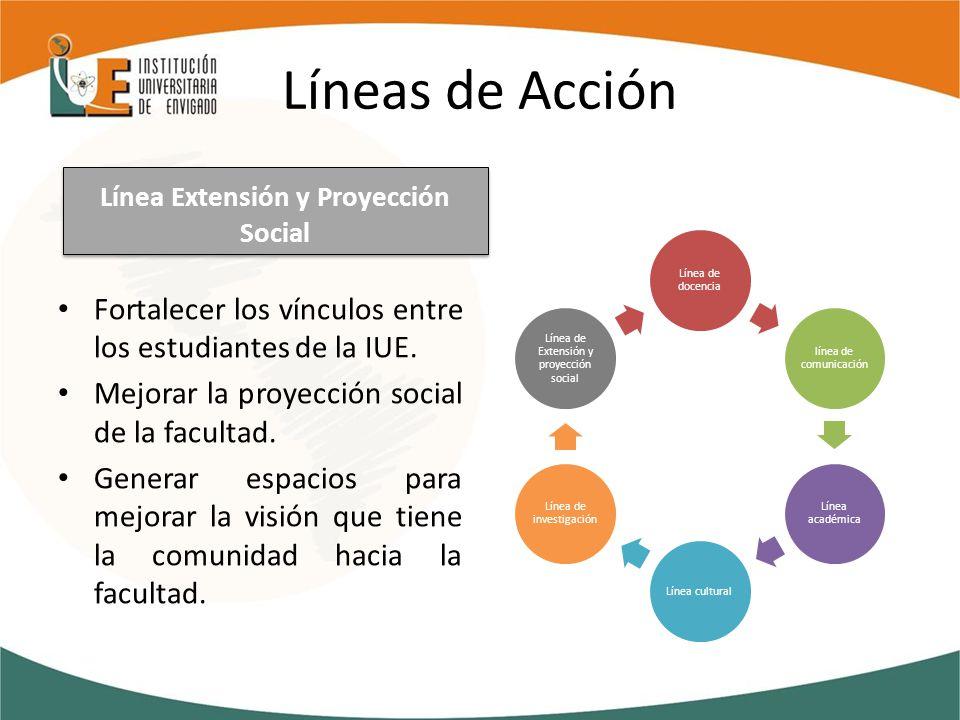 Líneas de Acción Fortalecer los vínculos entre los estudiantes de la IUE.