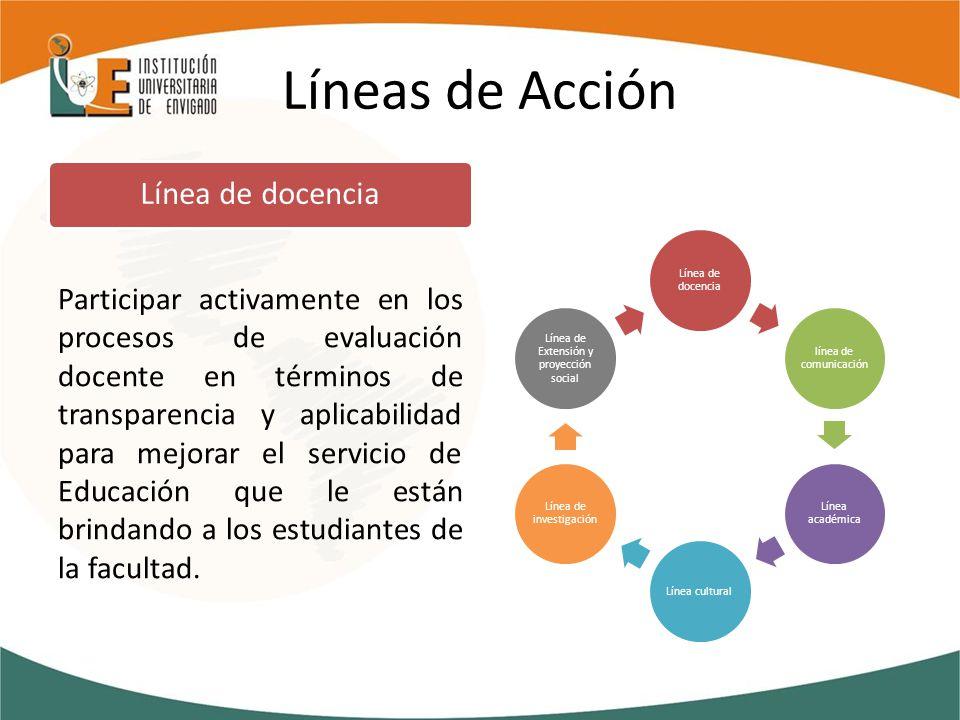 Líneas de Acción Participar activamente en los procesos de evaluación docente en términos de transparencia y aplicabilidad para mejorar el servicio de Educación que le están brindando a los estudiantes de la facultad.