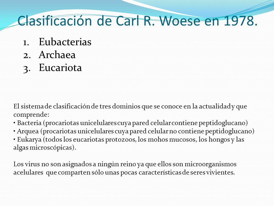 Clasificación de Carl R. Woese en 1978. 1.Eubacterias 2.Archaea 3.Eucariota El sistema de clasificación de tres dominios que se conoce en la actualida