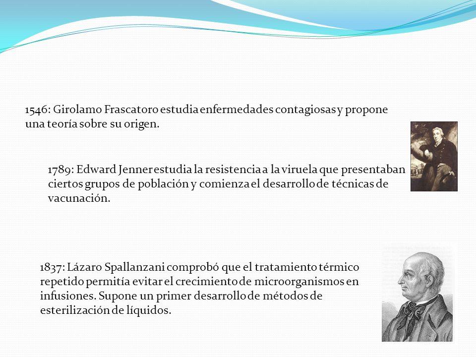 1546: Girolamo Frascatoro estudia enfermedades contagiosas y propone una teoría sobre su origen. 1789: Edward Jenner estudia la resistencia a la virue