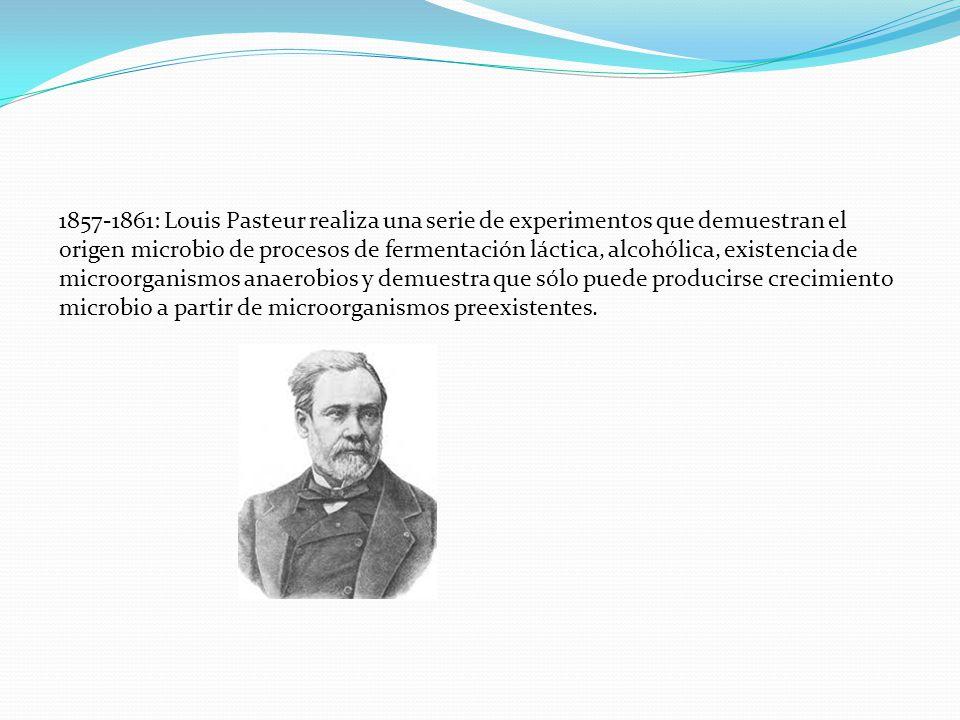 1857-1861: Louis Pasteur realiza una serie de experimentos que demuestran el origen microbio de procesos de fermentación láctica, alcohólica, existenc