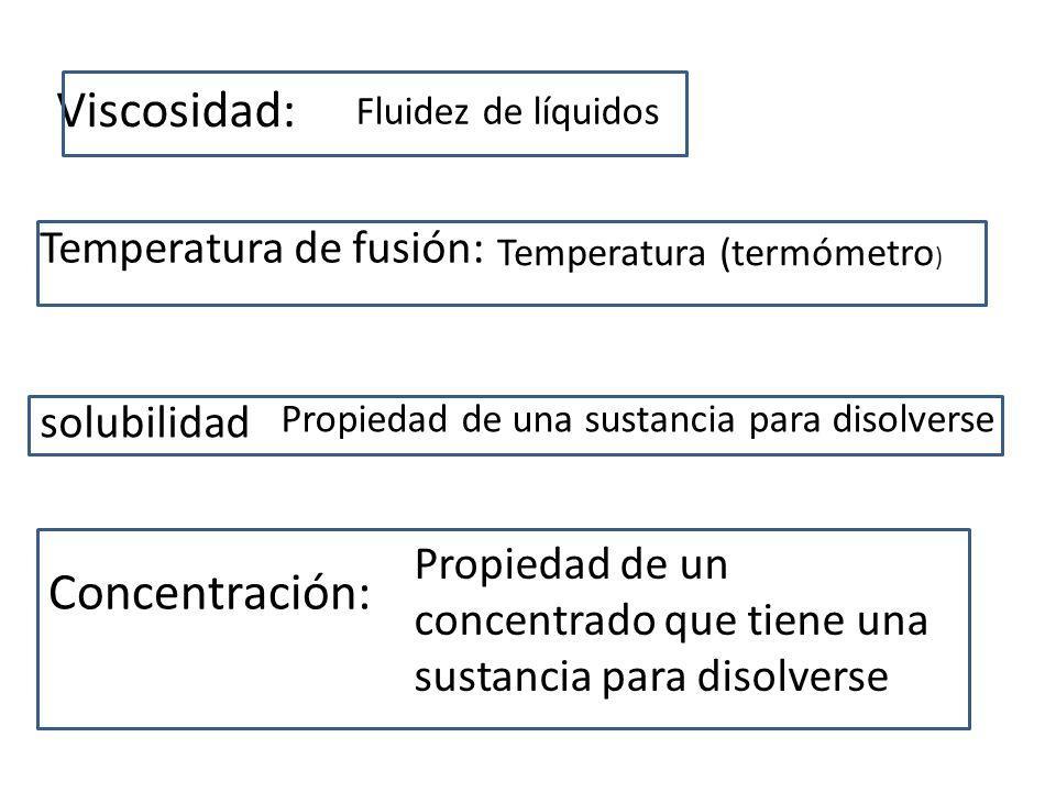 Viscosidad: Fluidez de líquidos Temperatura de fusión: Temperatura (termómetro ) solubilidad Propiedad de una sustancia para disolverse Concentración: