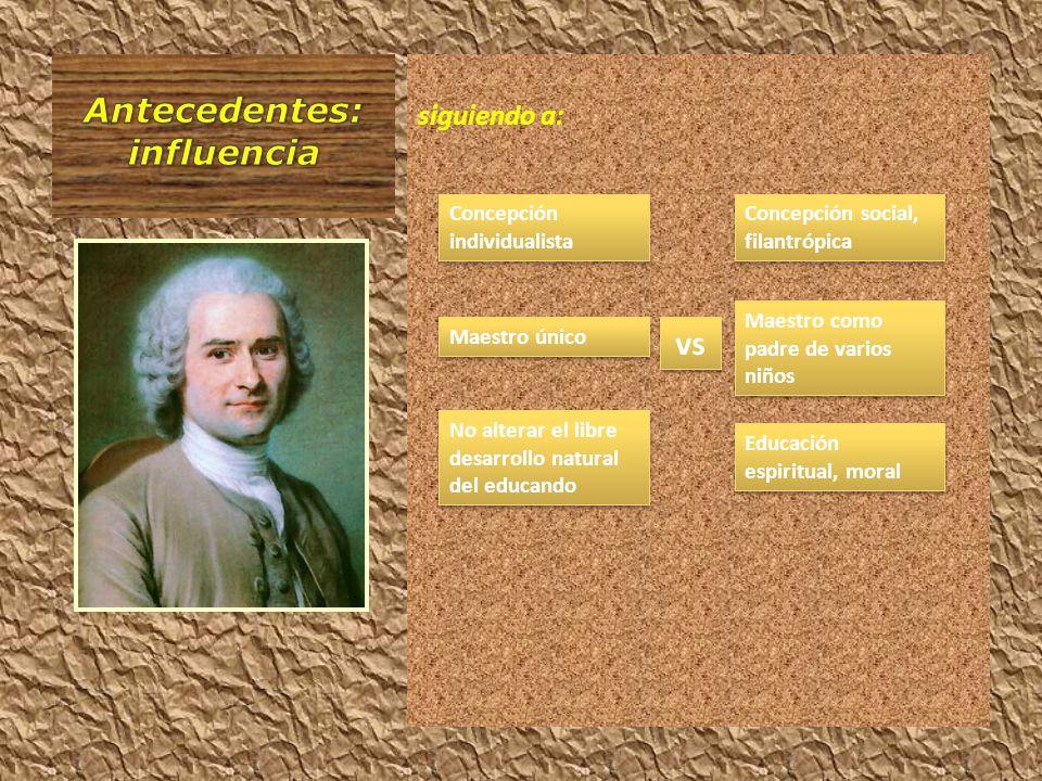 siguiendo a: Concepción individualista Maestro único vs No alterar el libre desarrollo natural del educando Concepción social, filantrópica Maestro co