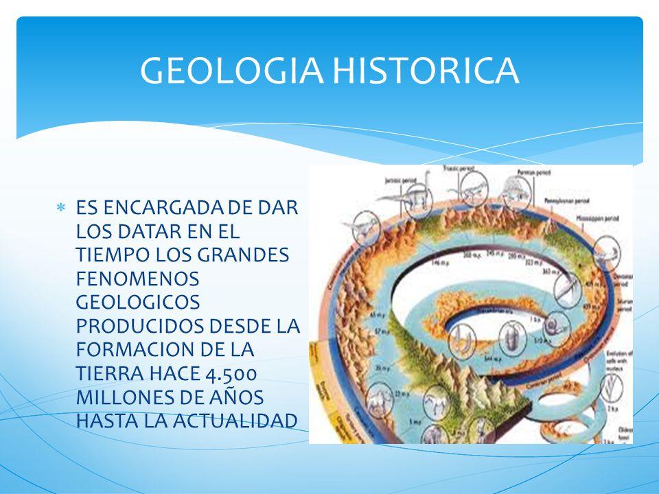 GEOLOGIA HISTORICA ES ENCARGADA DE DAR LOS DATAR EN EL TIEMPO LOS GRANDES FENOMENOS GEOLOGICOS PRODUCIDOS DESDE LA FORMACION DE LA TIERRA HACE 4.500 MILLONES DE AÑOS HASTA LA ACTUALIDAD
