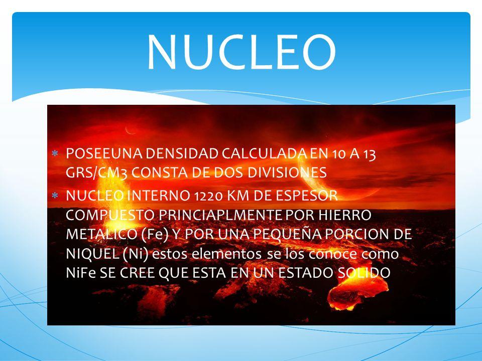 POSEEUNA DENSIDAD CALCULADA EN 10 A 13 GRS/CM3 CONSTA DE DOS DIVISIONES NUCLEO INTERNO 1220 KM DE ESPESOR COMPUESTO PRINCIAPLMENTE POR HIERRO METALICO (Fe) Y POR UNA PEQUEÑA PORCION DE NIQUEL (Ni) estos elementos se los conoce como NiFe SE CREE QUE ESTA EN UN ESTADO SOLIDO NUCLEO