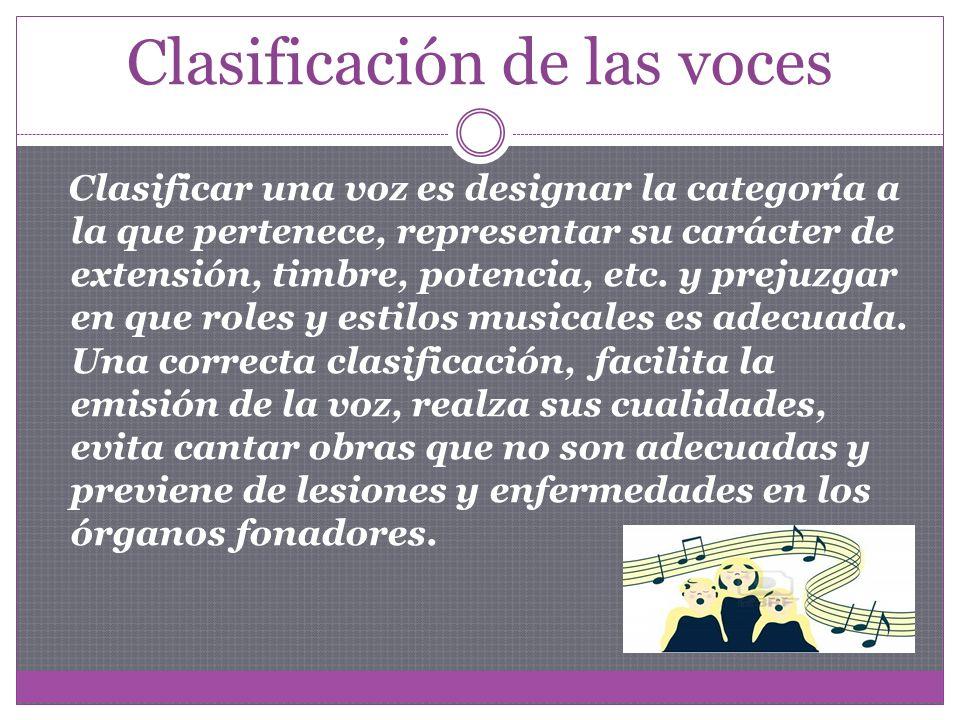 Clasificación de las voces Clasificar una voz es designar la categoría a la que pertenece, representar su carácter de extensión, timbre, potencia, etc