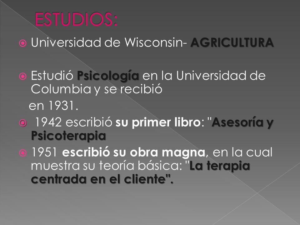 AGRICULTURA Universidad de Wisconsin- AGRICULTURA Psicología Estudió Psicología en la Universidad de Columbia y se recibió en 1931.