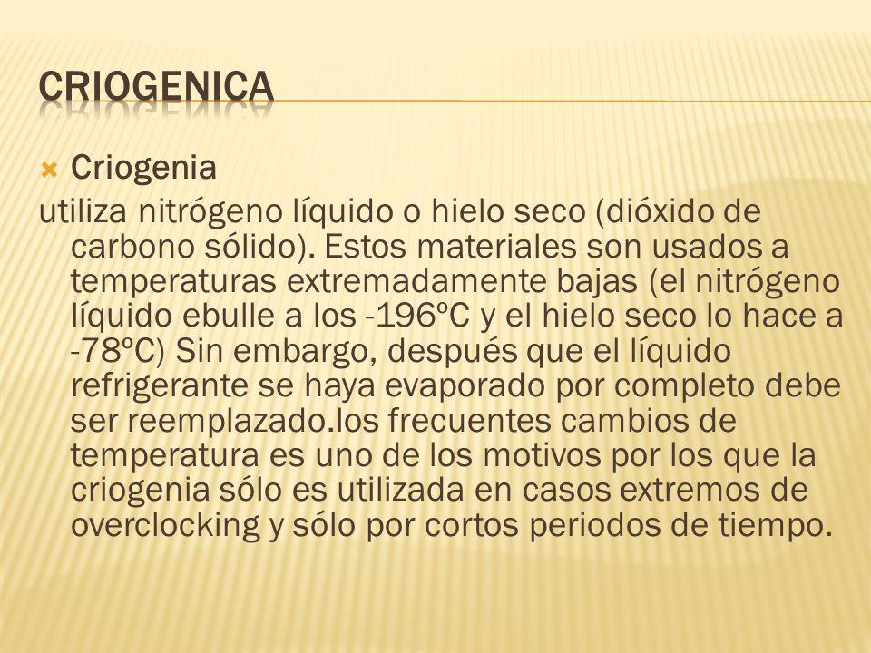 Criogenia utiliza nitrógeno líquido o hielo seco (dióxido de carbono sólido). Estos materiales son usados a temperaturas extremadamente bajas (el nitr