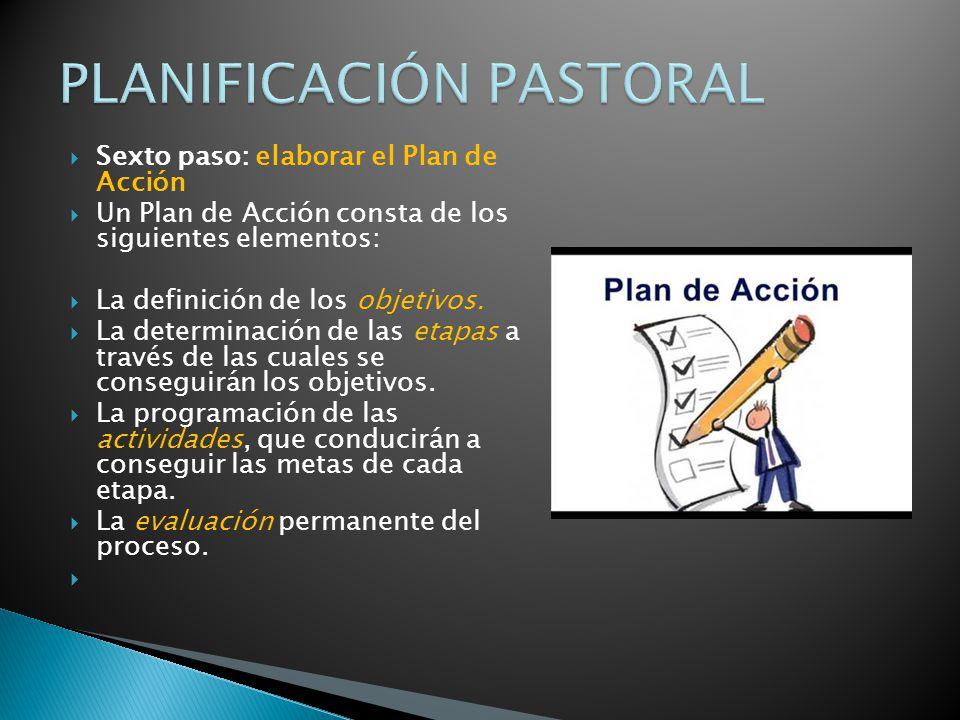 Sexto paso: elaborar el Plan de Acción Un Plan de Acción consta de los siguientes elementos: La definición de los objetivos.