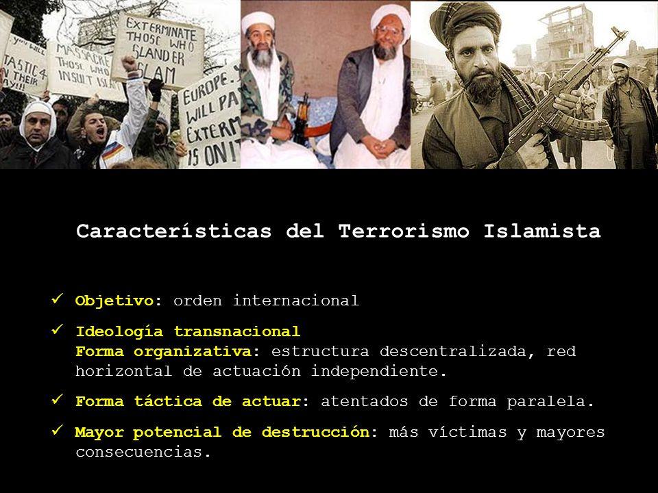 Características del Terrorismo Islamista Objetivo: orden internacional Ideología transnacional Forma organizativa: estructura descentralizada, red hor