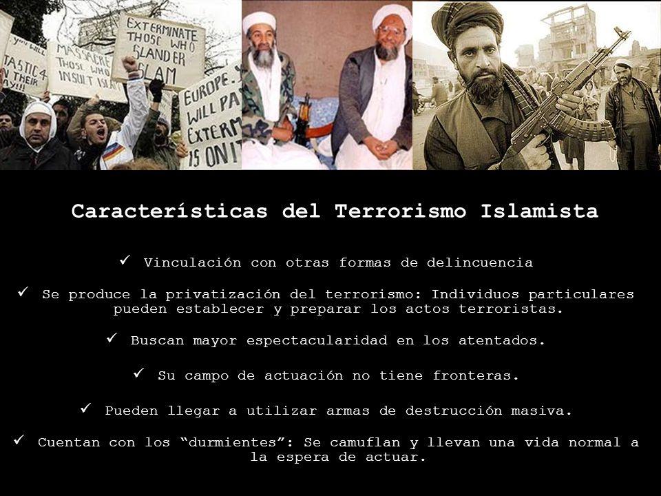 Características del Terrorismo Islamista Vinculación con otras formas de delincuencia Se produce la privatización del terrorismo: Individuos particula