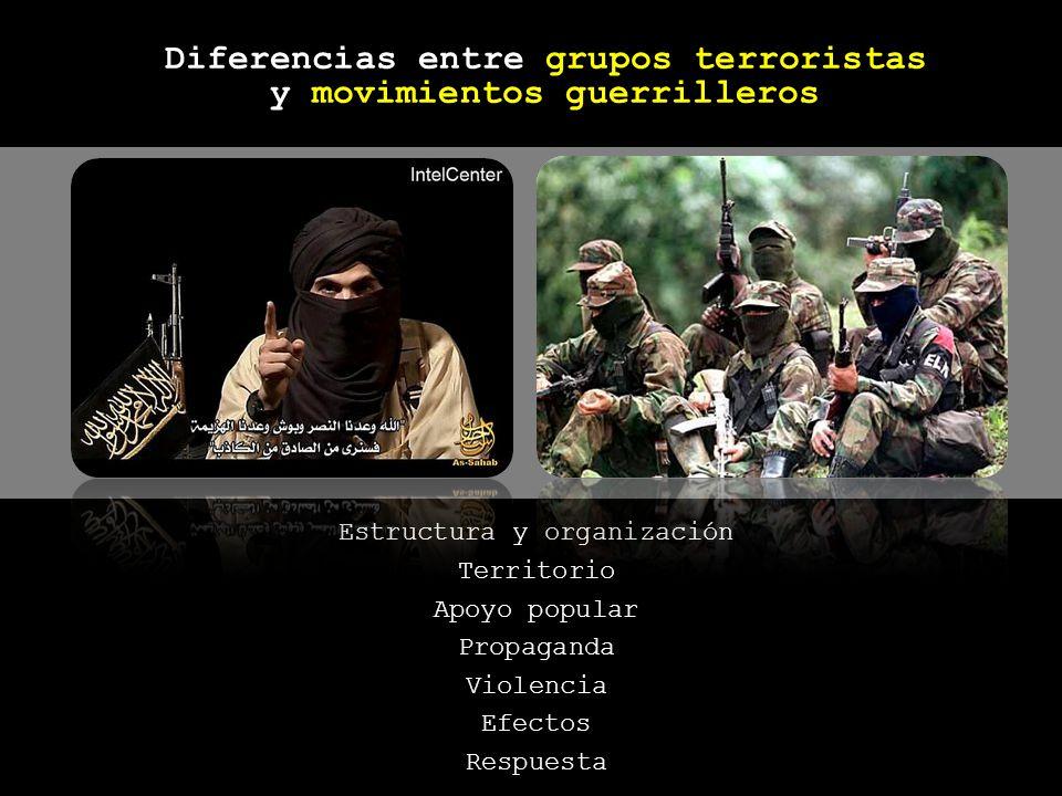 Estructura y organización Territorio Apoyo popular Propaganda Violencia Efectos Respuesta Diferencias entre grupos terroristas y movimientos guerrille