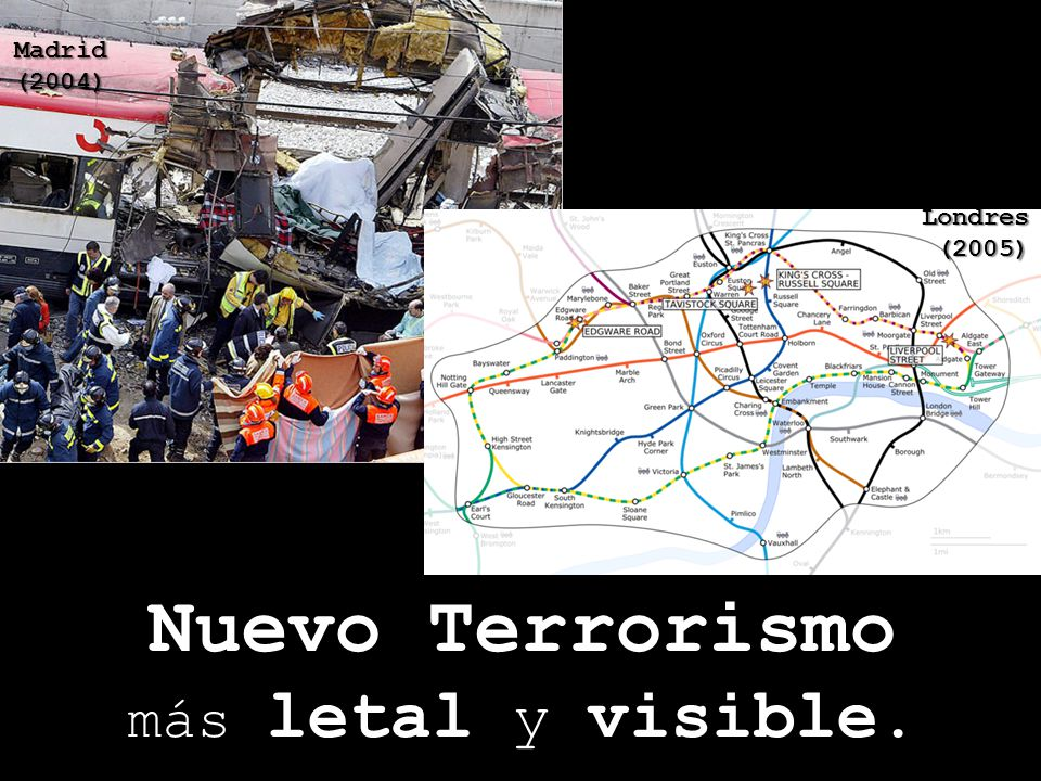 Nuevo Terrorismo más letal y visible. New York Washington (2001) Madrid (2004) Londres(2005)