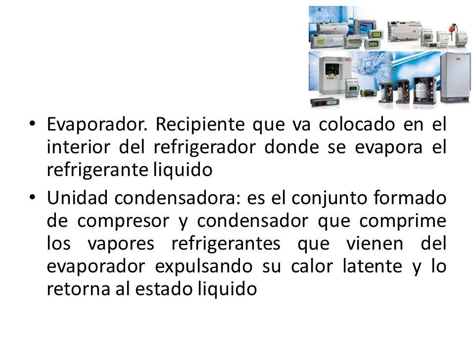 Evaporador. Recipiente que va colocado en el interior del refrigerador donde se evapora el refrigerante liquido Unidad condensadora: es el conjunto fo