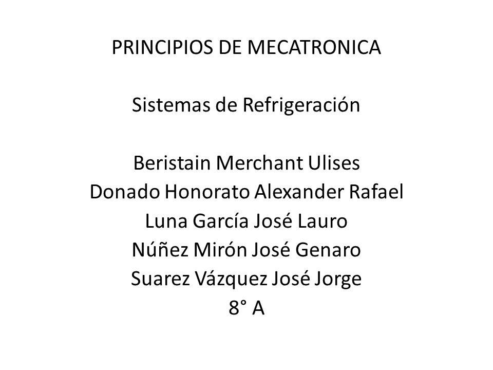 PRINCIPIOS DE MECATRONICA Sistemas de Refrigeración Beristain Merchant Ulises Donado Honorato Alexander Rafael Luna García José Lauro Núñez Mirón José