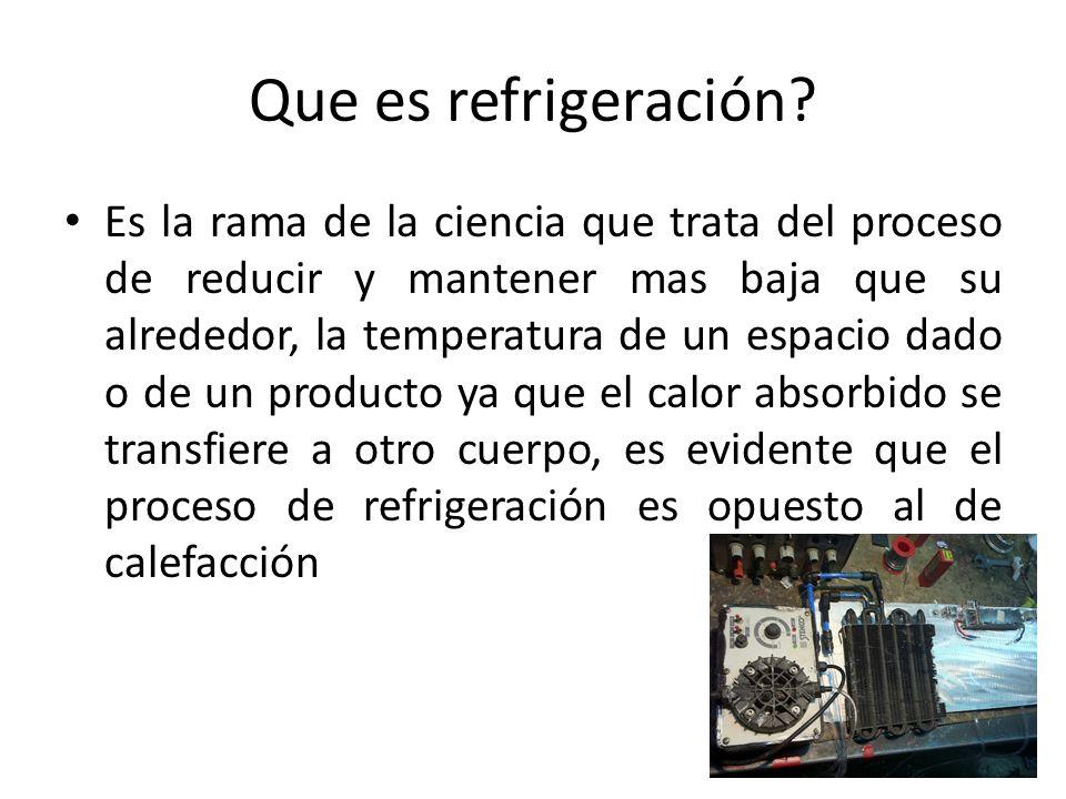 Que es refrigeración? Es la rama de la ciencia que trata del proceso de reducir y mantener mas baja que su alrededor, la temperatura de un espacio dad