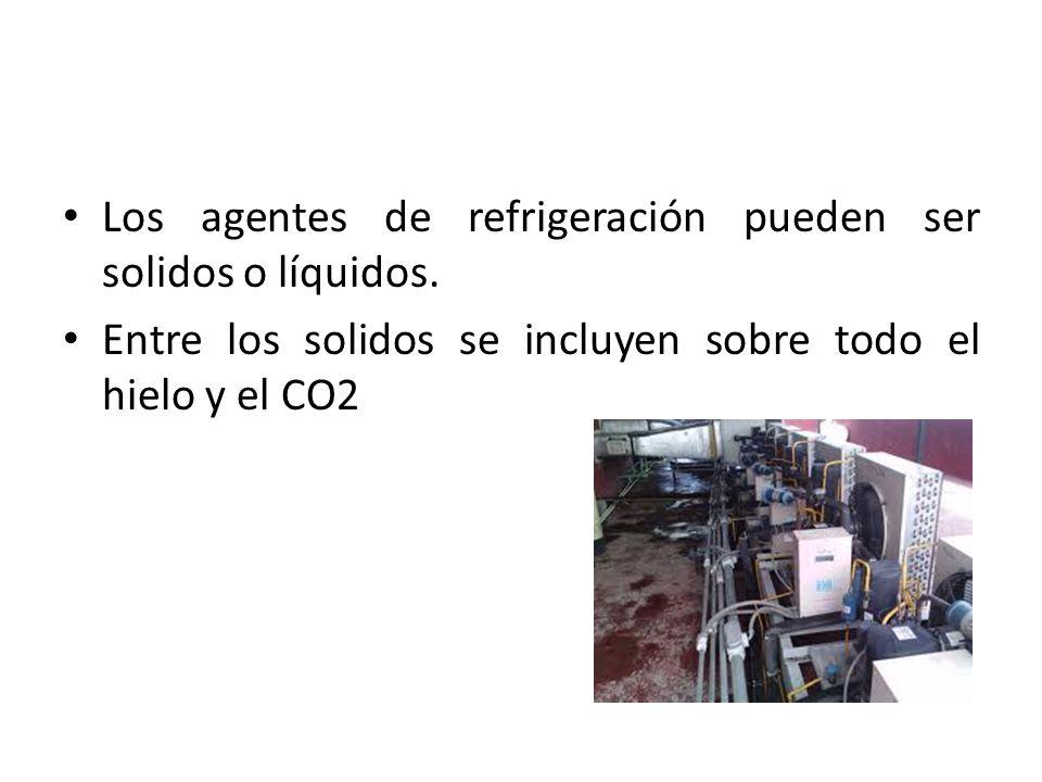 Los agentes de refrigeración pueden ser solidos o líquidos. Entre los solidos se incluyen sobre todo el hielo y el CO2