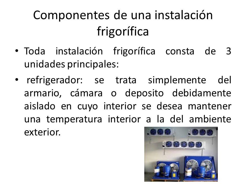 Componentes de una instalación frigorífica Toda instalación frigorífica consta de 3 unidades principales: refrigerador: se trata simplemente del armar