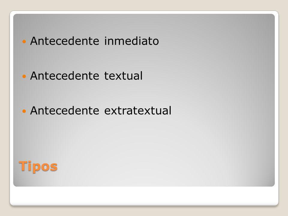 Tipos Antecedente inmediato Antecedente textual Antecedente extratextual