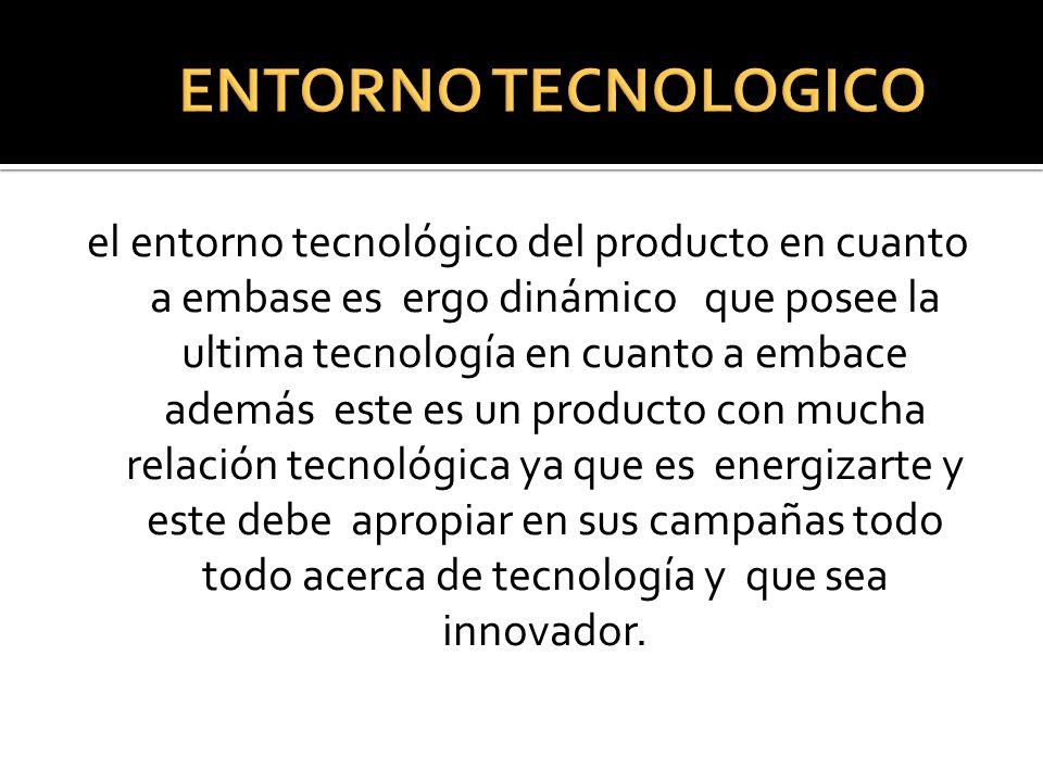 el entorno tecnológico del producto en cuanto a embase es ergo dinámico que posee la ultima tecnología en cuanto a embace además este es un producto c